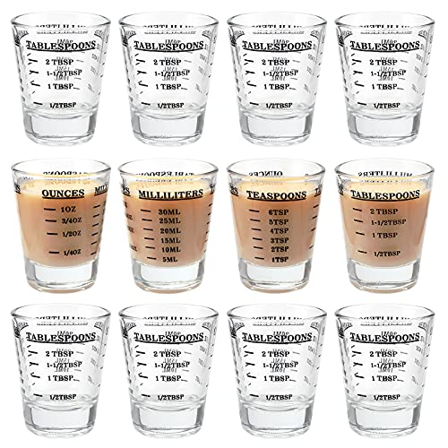 Kingrol 12 Pack 1 Ounce Shot Glasses, Heavy Base Measuring Glass, Wine Glass Espresso Shot Glass with Measurement