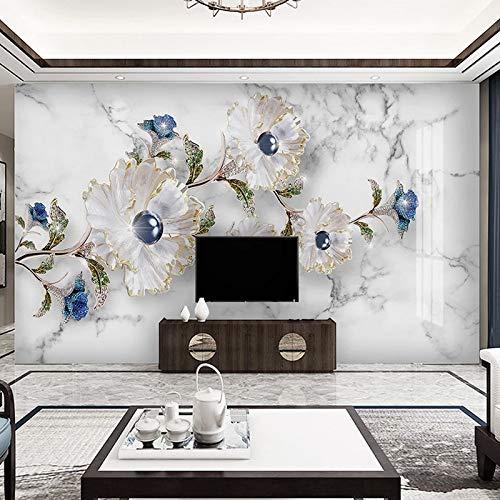 DZBHSCL fotobehang, muur, mooi, wit, creatief, bloemenmotief, blauw, marmer, kunst, foto, printer, groot formaat, wanddecoratie, voor woonkamer, bank, televisie, woonkamer 76in×108in 190cm(H) X 270cm(W)