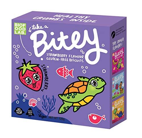 Bitey Glutenfrei Kekse 8-pack, Erdbeere (8x125g), Vegan und ohne Gluten Keks für Kinder