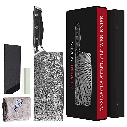 "7.5"" Damascus Steel Cleaver Knife Set 