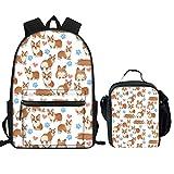 Showudesigns Girls Backpack and Lunch Box Set Corgi Heart Print School Bag Pack Teen Kids Bagpack Bookbag with Lunchbox 2 Pieces White
