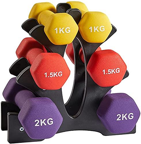 Zoomster Kurzhantel Set, mit Hantelständer, Neopren Hanteln Kurzhanteln Set, 2 x 1 kg, 2 x 1,5 kg, 2 x 2 kg