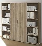 moebel-guenstig24.de Regalwand Office LINE Regal Regal-Set Aktenschrank Aktenregal Büro-Einrichtung/Sonoma Eiche