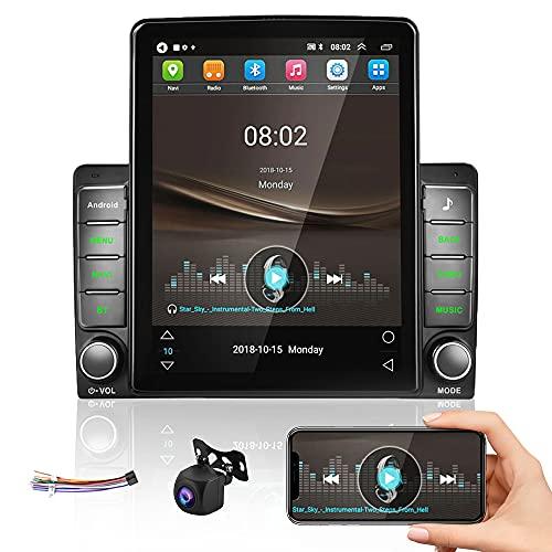 Android Radio de Coche GPS 2 DIN CAMECHO 9.5 Pulgadas Pantalla Táctil Vertical RDS FM Radio Bluetooth WiFi 3 USB Duplicar Pantalla Estéreo de Coche+Cable Adaptador ISO+Cámara Trasera AHD