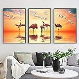 XCSMWJA Moderno Paisaje Espléndido Oro Puesta De Sol Flamingo Lago Lienzo Pintura Tríptico Cuadro De Pared para Sala De Estar Decoración del Hogar 40×60cm×3pcs