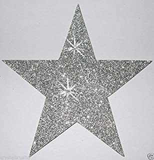Sliver 3 Fabric Glitter 102mm 4 Inch Star Iron-On Fabric Transfer