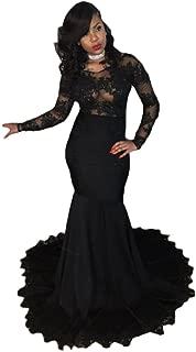 Ri Yun Womens Long Sleeve Mermaid Prom Dress 2019 Lace Formal Evening Ball Gowns