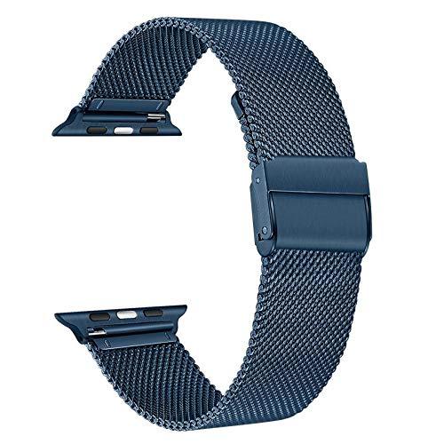 TRUMiRR Reemplazo para Apple Watch 42mm 44mm Correa de Reloj, Correa de Reloj de Acero Inoxidable Negro Correa de Metal Tejido de Malla para iWatch Apple Watch Series 5, Series 4, Series 3 2 1
