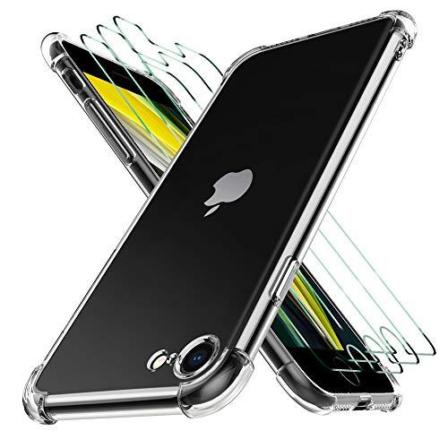 Luibor für iPhone SE 2020 Panzerglas (3 Stücke),für iPhone SE 2020 Hülle+Panzerglas Silikon TPU Soft Premium Hülle Anti-Kratzer Schock-Absorption Schutzhülle für iPhone SE - Klar