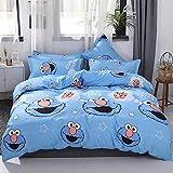 Papa&Mima INS Nordic - Juego de funda de edredón nórdica, microfibra y algodón de poliéster, hipoalergénico, 4 piezas, para cama de matrimonio (180 x 220 cm), diseño de monstruo de las galletas azul