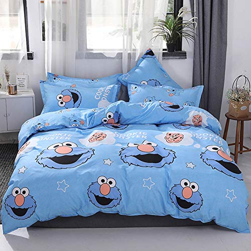 "Papa&Mima INS Nordic Duvet Cover Set - Microfiber Polyester Cotton - Hypoallergenic - 3 Pieces - Twin - 61""x80""(155x205cm),Sesame Street Cartoon Blue Cookie Monster"