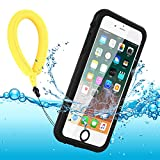Funda Impermeable iPhone 8 / iPhone 7, IP68 Waterproof Outdoor Delgado Cover a Prueba de choques Anti-rasguños Full Body con Protector de Pantalla Impermeable Funda para iPhone 8/7 (Black with Strap)