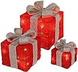 ¡Bambelaa! Cajas de Regalo Led Decoración con Luz - Set de 3 incl. Función Temporizador - Decoración Navideña Decoración Navideña Iluminación (Rojo)