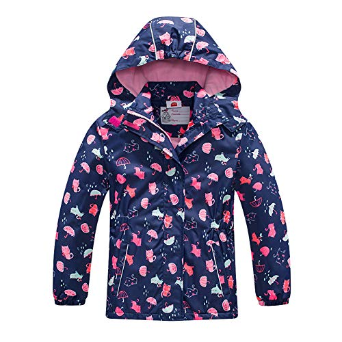 Girls Rain Jacket – Waterproof Jacket for Girls with Hood,Best for Rain School Day,Hiking and Camping(1301,8)