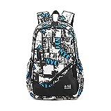 Mioy Jugendliche Schultasche Canvas Printing Rucksack Männer Schulrucksack Jungen 15 Zoll Laptop Backpack (Weiß1)