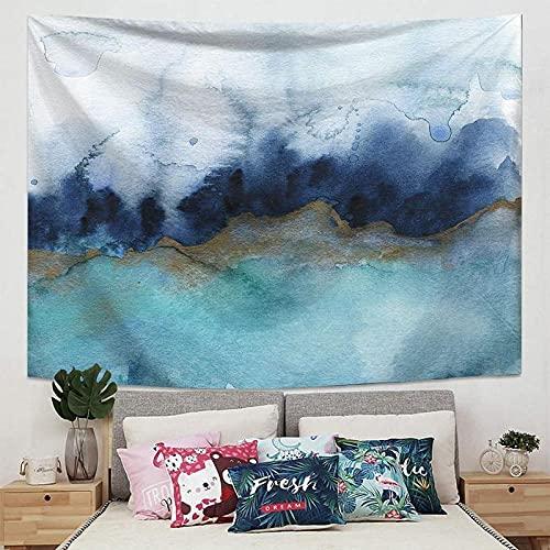 Tapiz Pared Niebla Azul Café Blanco Tapiz Decoracion Habitacion Poliéster Tapices de Pared Decoracion Pared Dormitorio Sala de Estar Tapestry Aesthetic Room Decor 150x130cm