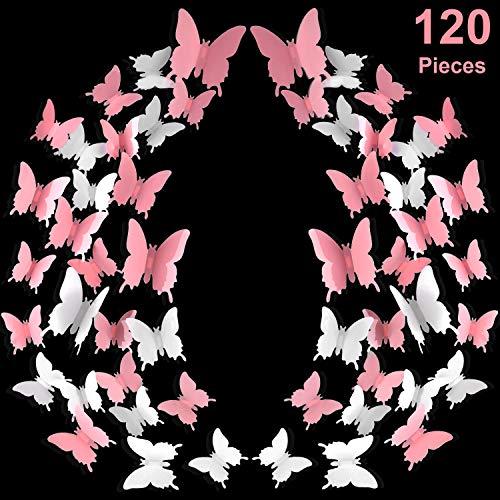 120 Stücke 3D Schmetterling Wandaufkleber 3 Größen Rosa Weiß Abnehmbare Schmetterling Wandtattoos für Baby Kinder Zimmer Hochzeit Hause Kühlschrank DIY Kunst Dekor