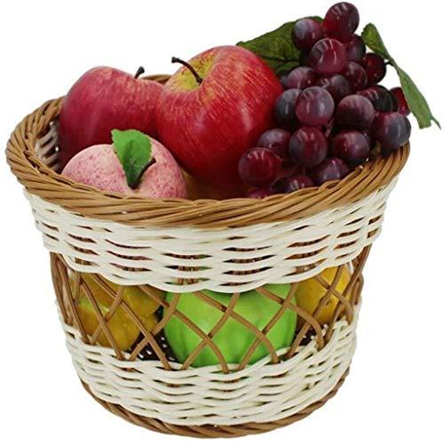 Cesta de picnic Cesta De Mimbre con Asa del Cuenco De Fruta Pan De Almacenamiento De Alimentos Estilo De País For Días De Campo De Visualización En Escritorio