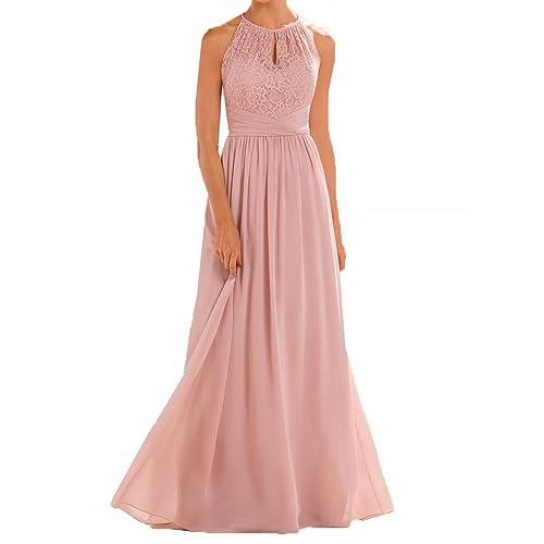 187e1acc1b9 Firose High Neckline Halter Lace A-line Chiffon Floor-Length Bridesmaid  Dress