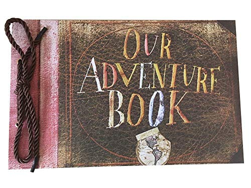 LINKEDWIN Our Adventure Book, Pixar Up Themed Scrapbook with Movie Postcards, Wedding and Anniversary Photo Album, Memory Keepsake, 11.6 x 7.5 inch, 80 Pages (Light Brown Pages)