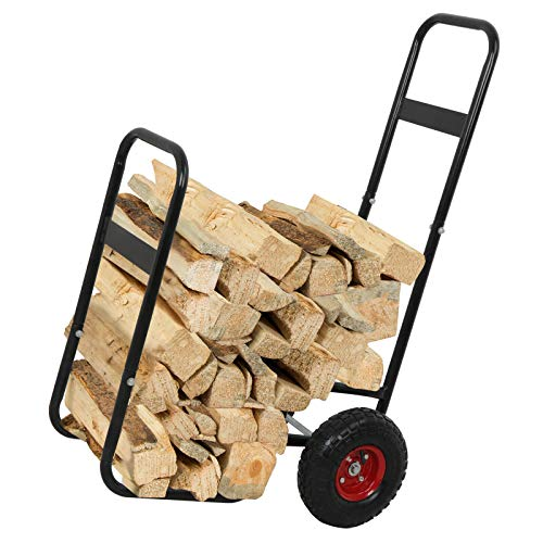 Best Price! Home & Patio Furniture Black Metal Firewood Log Cart Carrier Mover Hauler with 10 Wheel...