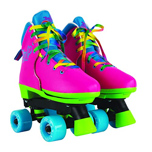 Circle Society Classic Adjustable Indoor & Outdoor Childrens Roller Skates - Jojo Siwa Rainbow - Sizes 3-7, 170035,Multi