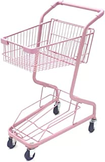 Portable Folding Double Wrought Iron Shopping cart Pink Body is Durable