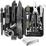 Gifts for Dad Husband, 14 in 1 Professional Survival Gear Tool Emergency Tactical Stocking Stuffers Equipment Supplies Kits for Hiking Camping Adventures (Black)