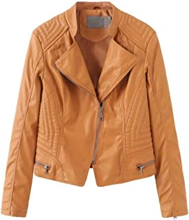 Yshaobinggva Women's Leather Jacket Slim Leather Jacket Motorcycle Leather Jacket Retro Leather Jacket (Color : Yellow, Size : L)