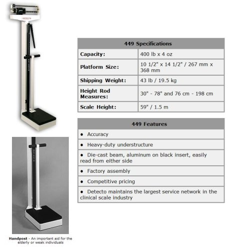 Detecto Mechanical Physician Scale, Eye Level with Handpost and Height Rod, 400lbs., Model#449, Made in the USA