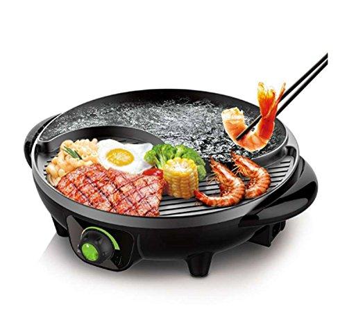 Style coréen BBQ Poke Hot Pot antiadhésif Tous Puissant Stovetop Grill Double pot Machine à barbecue Sans fumée ronde de cuisson électrique multifonction Pan Multi But Pot noir