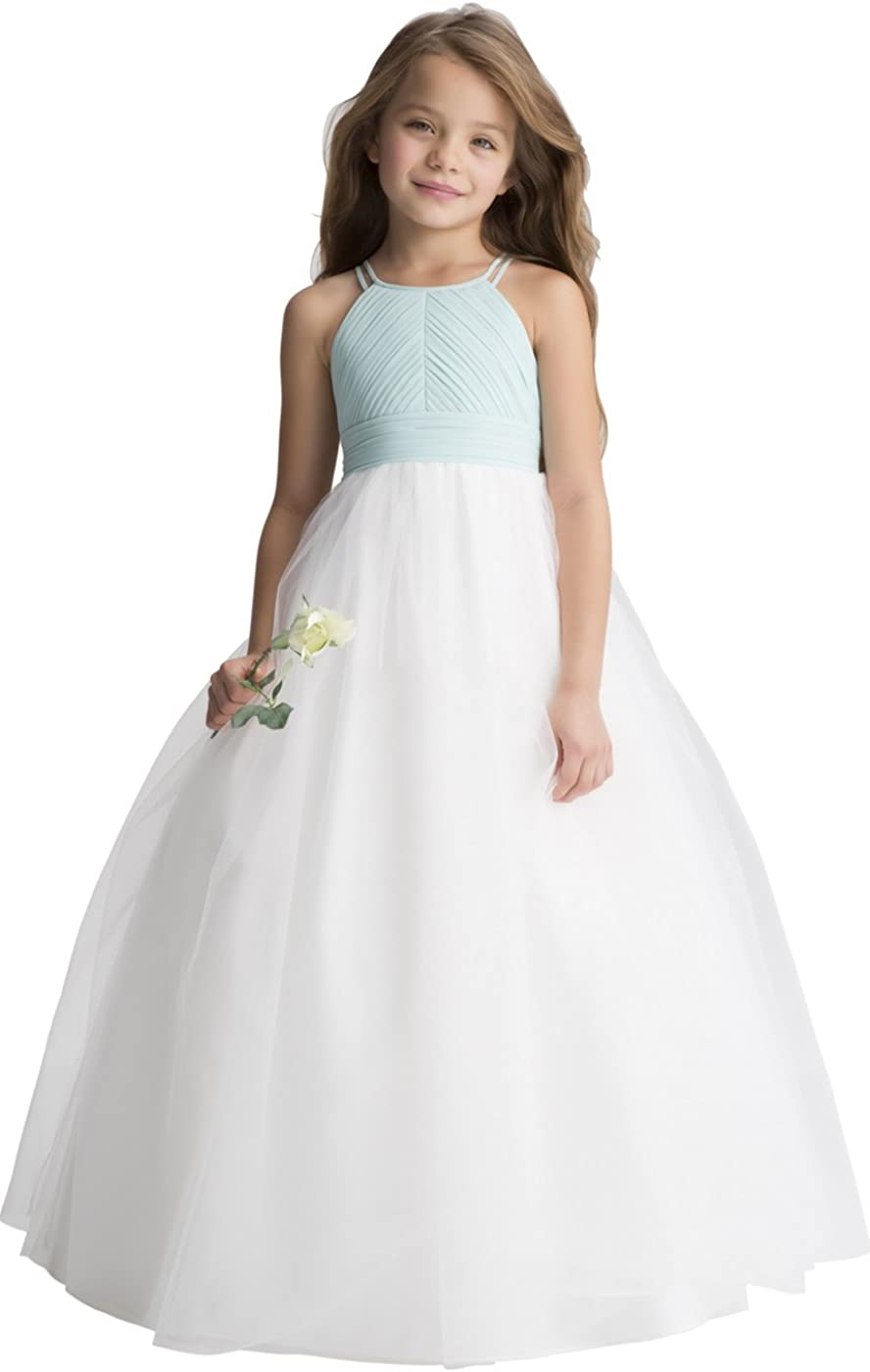 Miama Blue Chiffon Tulle Wedding Flower Girl Dress Junior Bridesmaid Dress