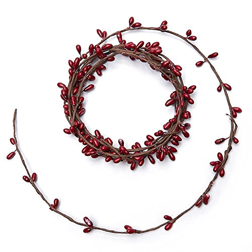 Factory Direct Craft 80 Inch Long Single Vine Cranberry Red Pip Berry Roping Garland - 1 Garland