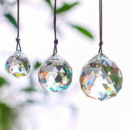 Boerni Kristallkugel-Set enthält 20/30/40 mm klare facettierte Prisma-Kugeln, Sonnenfänger für Deckenleuchten, Kronleuchter, Fenster, Dekoration, 3 Stück