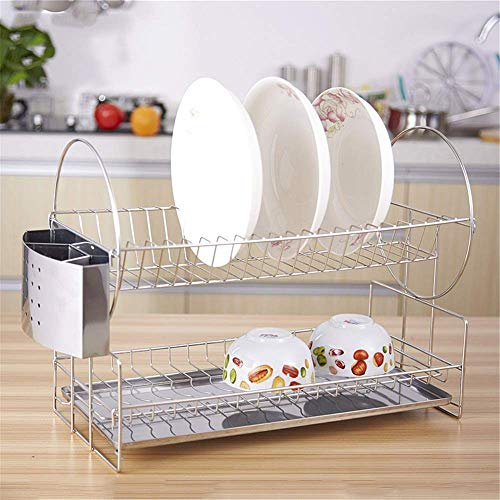 BEVANNJJ ZYY Drain Rack Chrome Finished 2 Tier Dish Drainer With Tray Dish Drying Rack With Utensil Holder Silver Dish Drainer (Color : Silver, Size : 51x23x33cm)