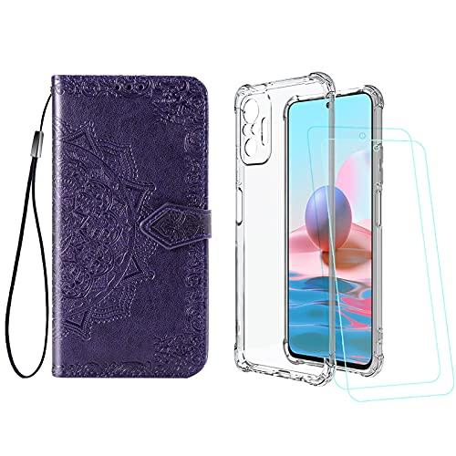 Abuenora [2 Pack] Funda para Xiaomi Redmi Note 10 Pro Pro MAX + Protector de Pantalla Cristal Templado, Carcasa Libro con Tapa Antigolpes Case Silicona TPU Color Transparente + Violeta