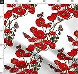 Blumen, Schmetterlinge, rot, Mohn Stoffe - Individuell