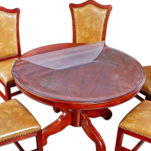 ZZFF Protector De Mesa De PVC Redondo Transparente,Gruesas Plástico Cubierta De Mesa Impermeable Protector De Escritorio Comida Mesa Manteles-Fregar 1.5mm Diameter:150cm(59inch)