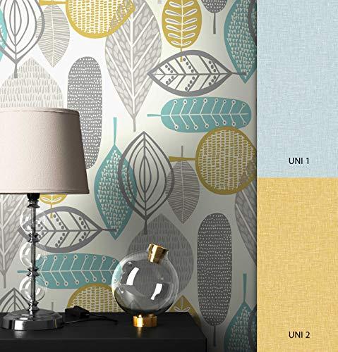 NEWROOM Tapete grau Floral Blätter Retro Papiertapete türkis Papier moderne Design Optik Tapete Natur inkl. Tapezier Ratgeber