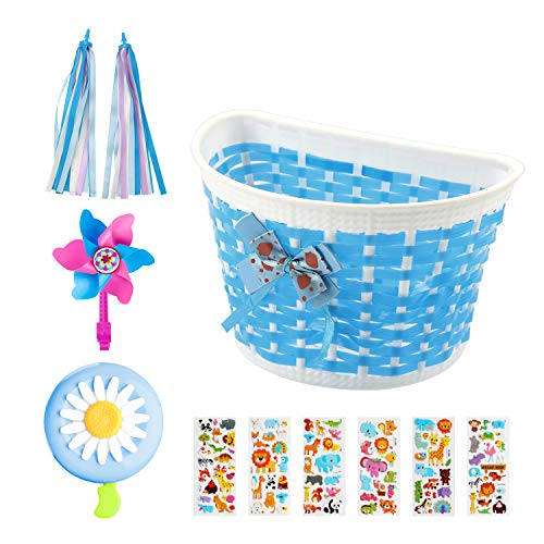 BAPHILE Bike Accessories for Kids Girls Bike Bicycle Decorations Including Blue Bike Basket,Flower Bell,Bike Streamers Pinwheel and Animal Stickers