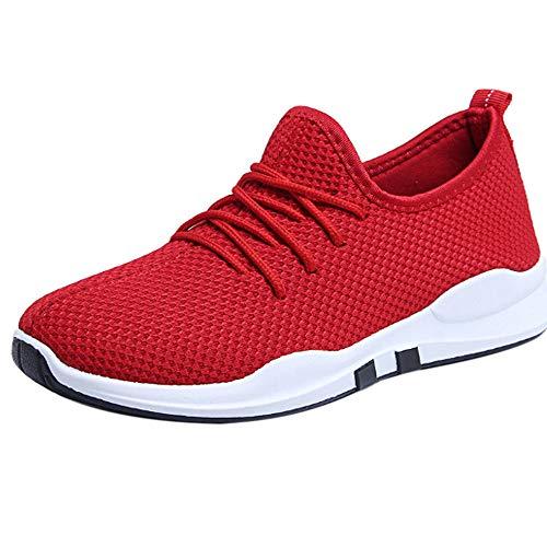 MRULIC Damen Laufschuhe Schnüren Sich Oben Flach Bequeme Fitness Gym Sport Schuhe Freizeitschuhe Sportschuhe Running Sneaker Netz(Rot,35 EU)