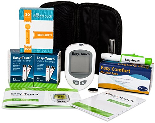 Easy Touch Diabetes Testing Kit - Easy Touch Meter, 100 Easy Touch Blood Glucose Test Strips, 100  Lancets 30g, Lancing Device and 100  Alcohol Pads - Slight Touch Slight Touch