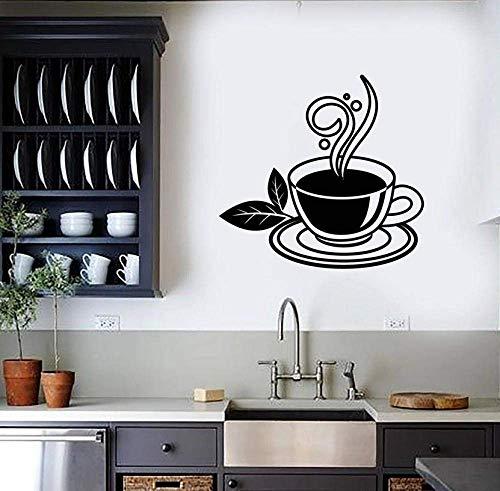 Groene thee muursticker, voor koffiekopje, dranken, café, keuken, thuis, decoratie, deur, ramen, vinyl, creatief, muurkunst, 57 x 60 cm