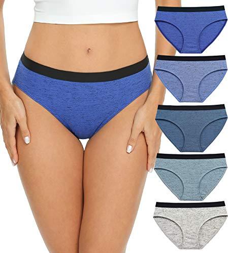 Womens Underwear Cotton Bikini Panties, Low Rise Ladies Underwear, Hi Cut Hipster Panties (RYB002M - Grey 5)
