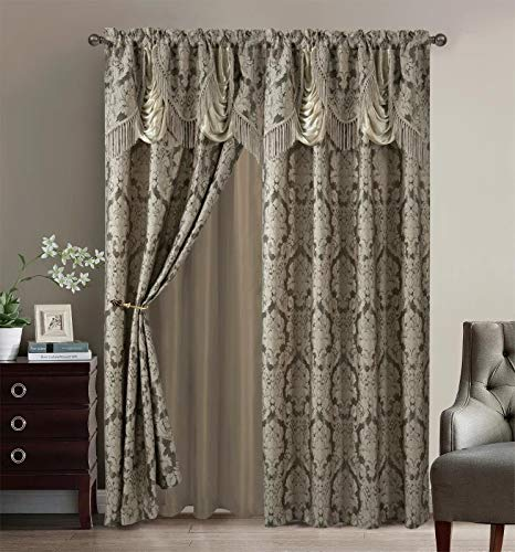 """Sapphire Home Fancy Jacquard Window Drape Curtain Panels Set with Attached Valance, Sheer Backing, 2 Tassels, Elegant Damask Floral Pattern, Drape set for Living & Dining Rooms, (Scarlett, 84"""", Taupe)"""