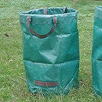 耐久性に優れたPPガーデン木の葉バッグ再利用可能な庭の葉雑草草コンテナストレージハウスごみゴミ箱バケツバッグ,アーミーグリーン