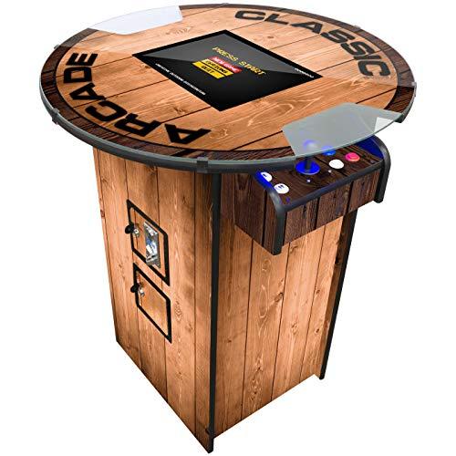 Creative Arcades Full Size Commercial Grade Pub Arcade Machine   2 Player   412 Games   22' LCD Screen   Round Glass Top   2 Sanwa Joysticks   Woodgrain Design   2 Stools Included   3 Year Warranty