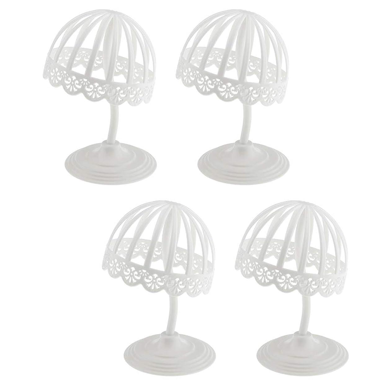 ひいきにする雇用者ガロンSM SunniMix ウィッグ スタンド 帽子 収納 ディスプレイ 4個セット プラスチック製 ホワイト