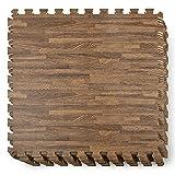 Yes4All Interlocking Exercise Foam Mats – Cover 24, 48 & 120 SqFt (Multi-Color) (G. 24 Square Feet (12 Tiles) - Dark Oak Wood)