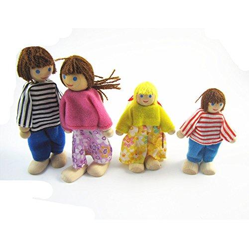DOREKIN A Four Mignon en bois Famille Toy Dolls Echelle Figures Personnages Dressed